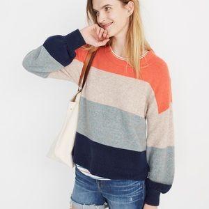 NWT Madewell Striped Balloon-Sleeve Sweater